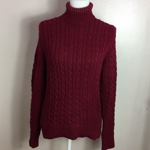 Ann Taylor Knitted Burgundy Turtle Neck Sweater